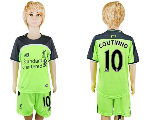 Liverpool #10 Coutinho Sec Away Kid Soccer Club Jersey