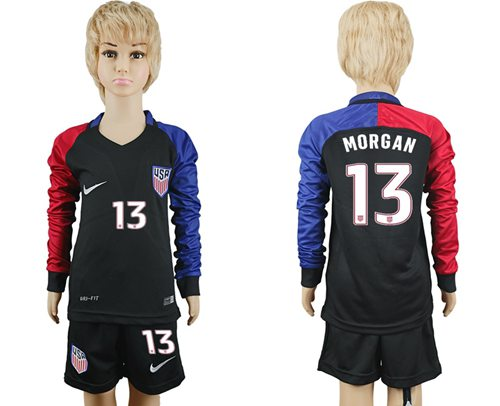 USA #13 Morgan Away Long Sleeves Kid Soccer Country Jersey