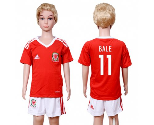 Wales #11 Bale Home Kid Soccer Country Jersey