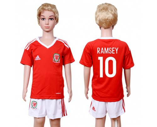 Wales #10 Ramsey Home Kid Soccer Country Jersey