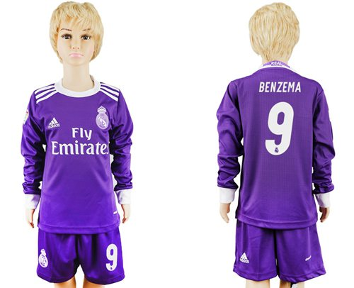 Real Madrid #9 Benzema Away Long Sleeves Kid Soccer Club Jersey