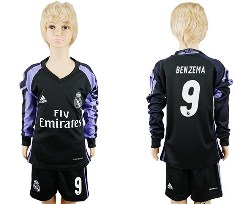 Real Madrid #9 Benzema Sec Away Long Sleeves Kid Soccer Club Jersey