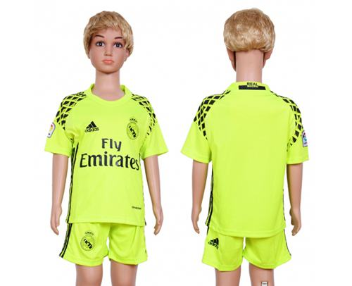 Real Madrid Blank Shiny Green Goalkeeper Kid Soccer Club Jersey