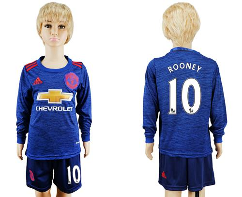Manchester United #10 Rooney Away Long Sleeves Kid Soccer Club Jersey