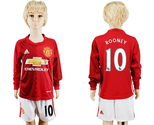 Manchester United #10 Rooney Home Long Sleeves Kid Soccer Club Jersey