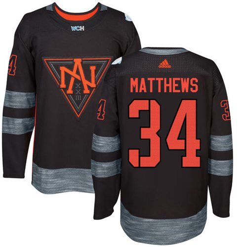 Team North America #34 Auston Matthews Black 2016 World Cup Stitched Youth NHL Jersey
