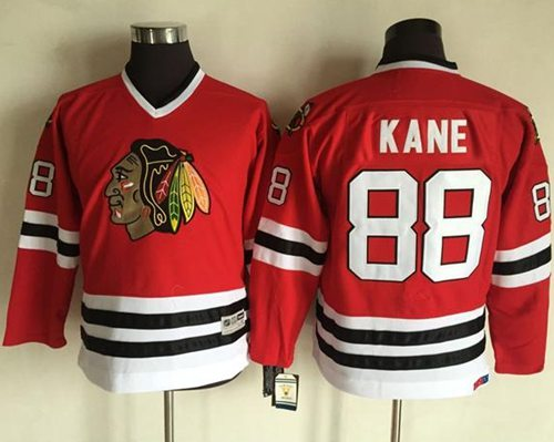 Blackhawks #88 Patrick Kane Red CCM Throwback Stitched Youth NHL Jersey