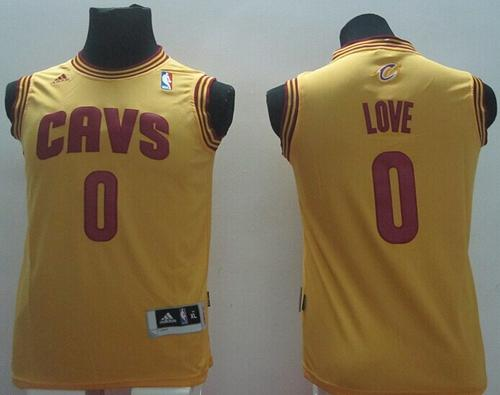 Revolution 30 Cavaliers #0 Kevin Love Gold Stitched Youth NBA Jersey