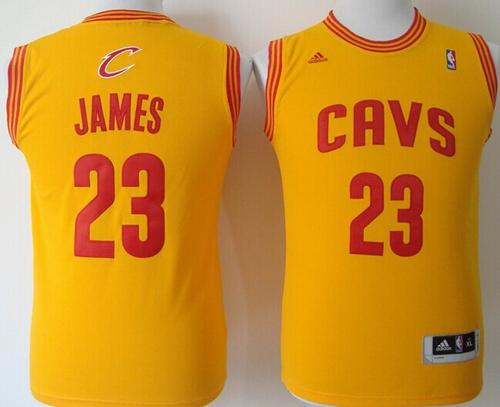 Revolution 30 Cavaliers #23 LeBron James Gold Stitched Youth NBA Jersey