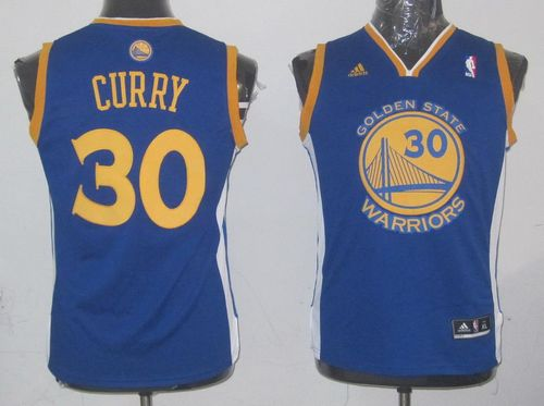 Revolution 30 Warriors #30 Stephen Curry Blue Stitched Youth NBA Jersey