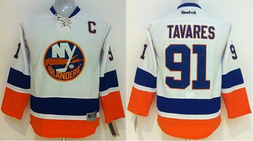 Islanders #91 John Tavares White Stitched Youth NHL Jersey