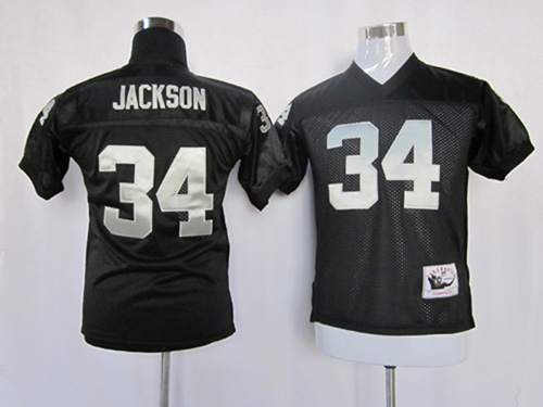 Mitchell And Ness Raiders #34 Bo Jackson Black Stitched Youth NFL Jersey