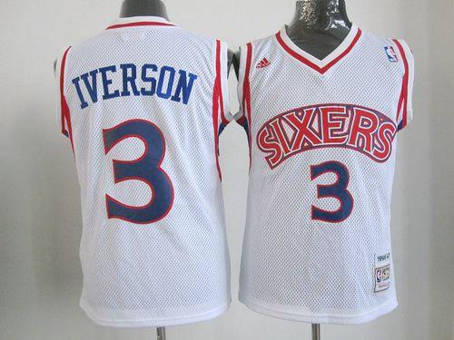76ers #3 Allen Iverson White Throwback Stitched Youth NBA Jersey