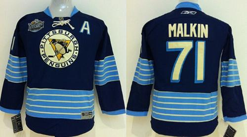 Penguins #71 Evgeni Malkin 2011 Winter Classic Vintage Stitched Dark Blue Youth NHL Jersey