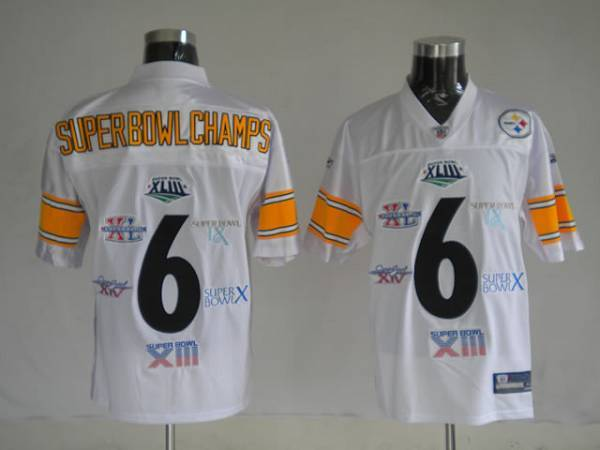 Steelers 6 Super Bowl Champion Patch White Stitched Youth NFL Jersey