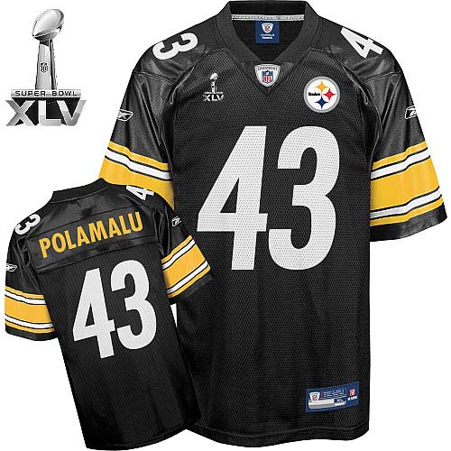Steelers #43 Troy Polamalu Black Super Bowl XLV Stitched Youth NFL Jersey