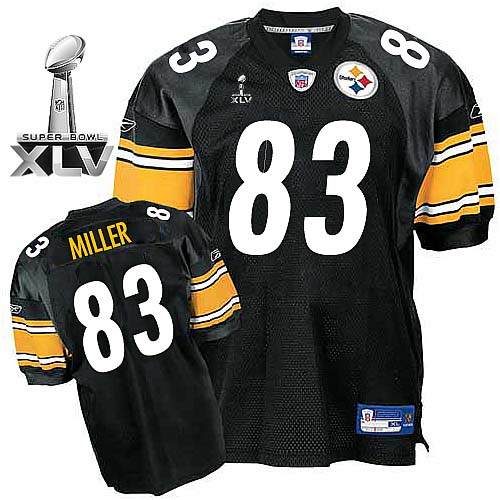 Steelers #83 Heath Miller Black Super Bowl XLV Stitched Youth NFL Jersey