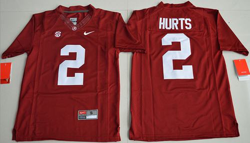 Crimson Tide #2 Jalen Hurts Red Limited Stitched Youth NCAA Jersey
