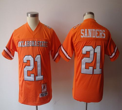Cowboys #21 Barry Sanders Orange Throwback Stitched Youth NCAA Jersey