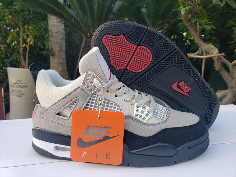Men's Hot Sale Running weapon Air Jordan 4 Retro Grey/Black Shoes 027
