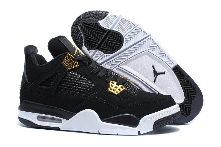 Men's Air Jordan 4 Black White Gold Shoes