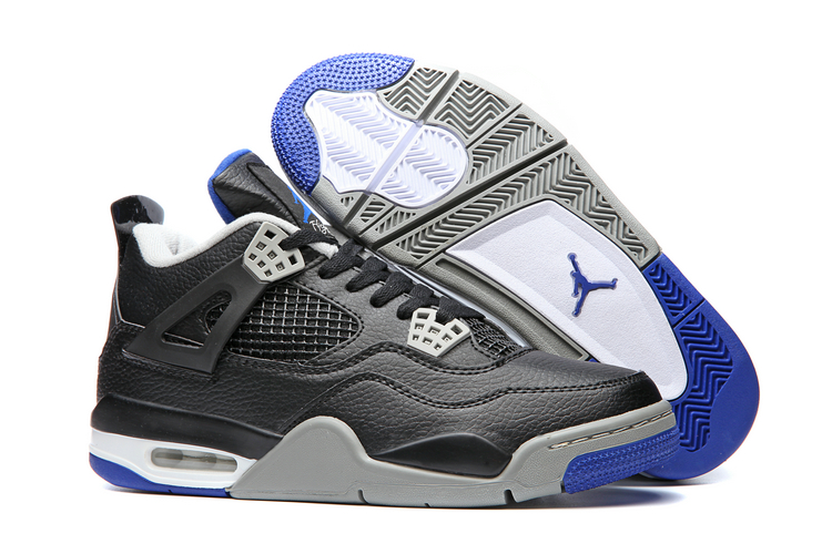 Men's Air Jordan 4 Black Blue Shoes