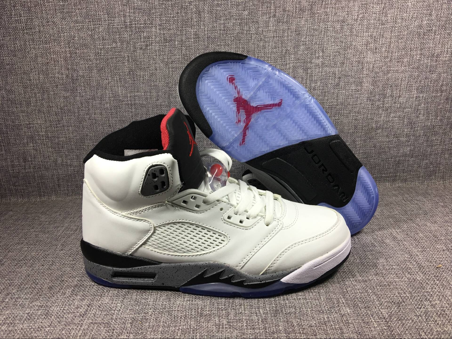 "Men's 2017 Air Jordan 5 Retro ""White Cement"" Shoes"
