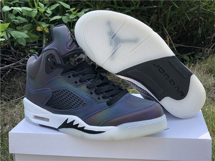 "Men's Running Weapon Air Jordan 5 WMNS ""Oil Grey"" Shoes 013"