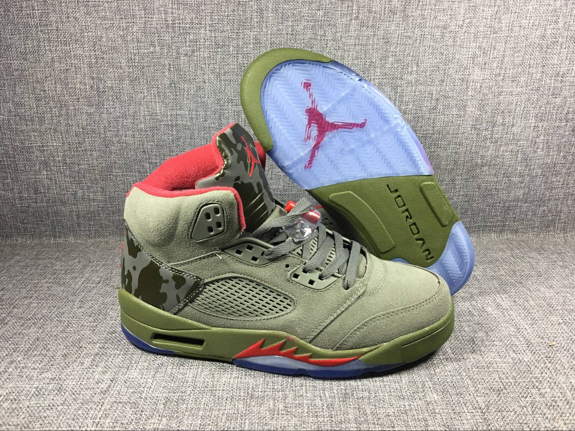 "Men's 2017 Air Jordan 5 ""Camo"" Olive-Grey/Fire Red Shoes"