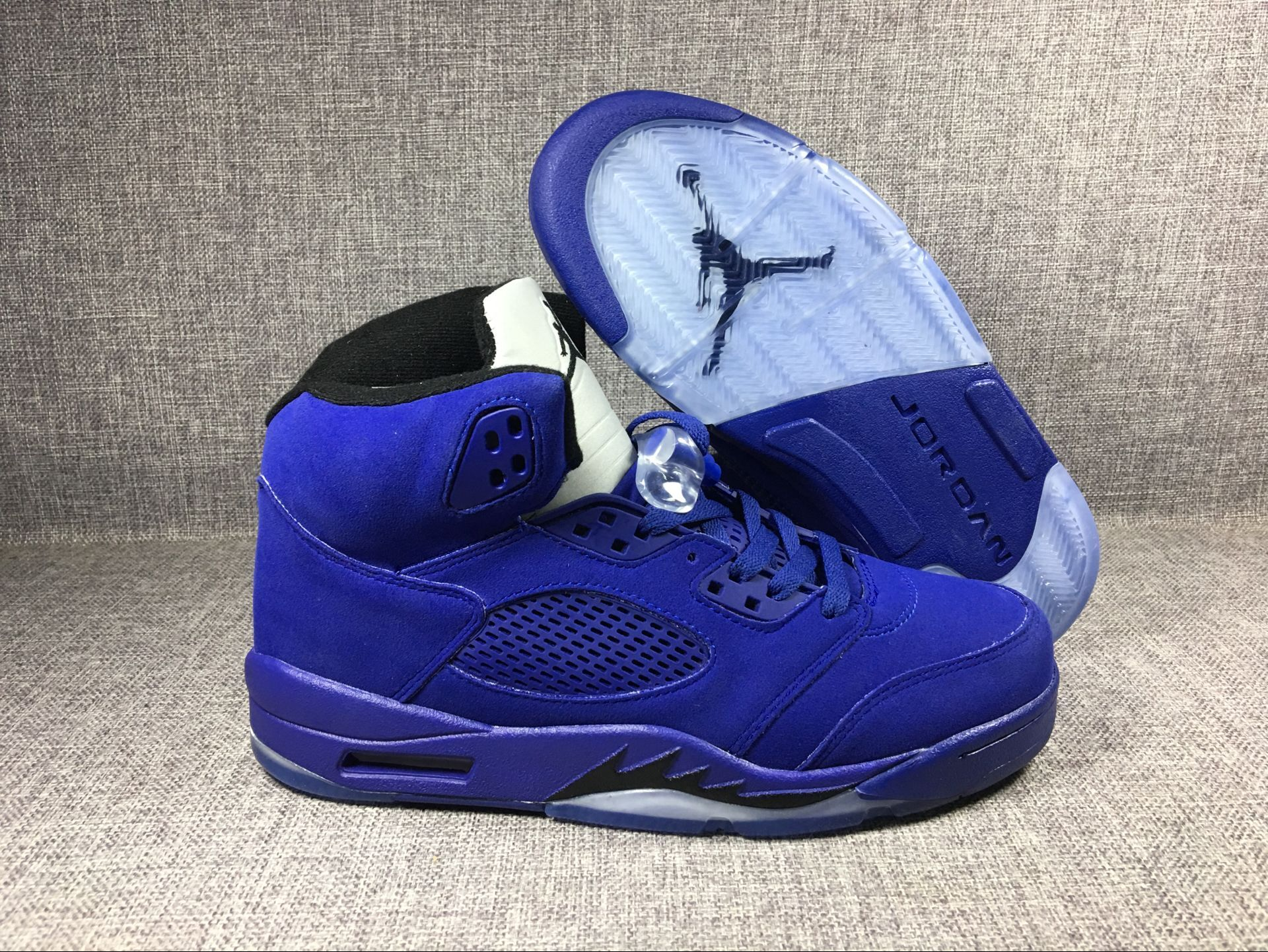 "Men's 2017 Air Jordan 5 Blue Suede ""Flight Suit"" Game Royal/Black Shoes"