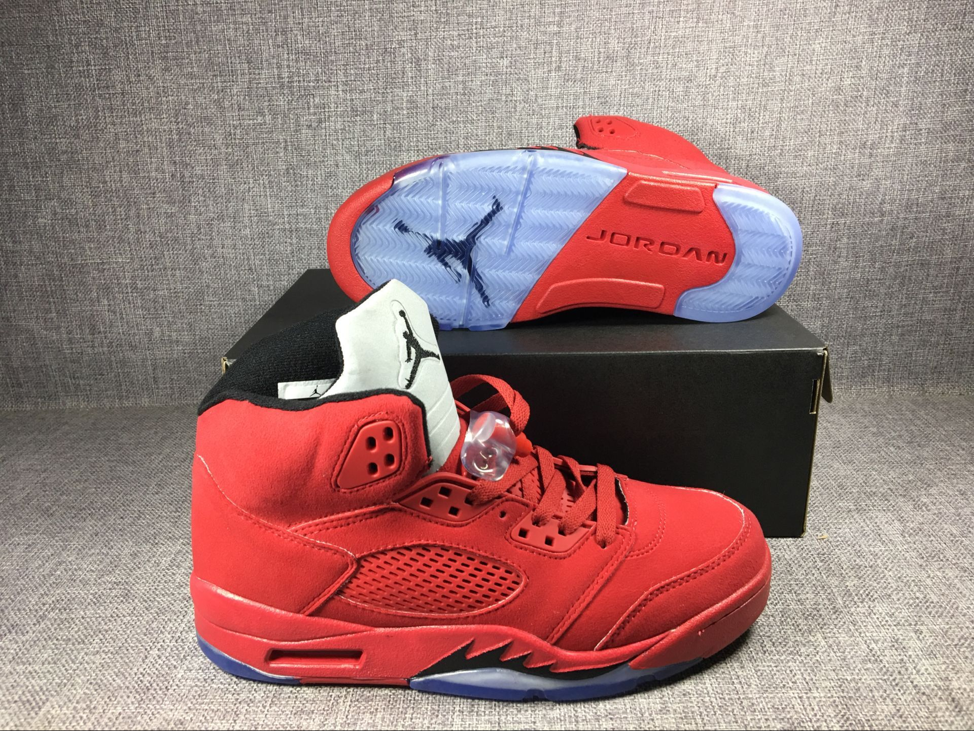 "Men's 2017 Air Jordan 5 Raging Bull ""Red Suede"" University Red/Black Shoes"