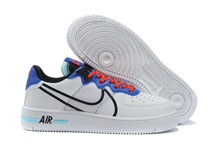 Men's Air Force 1 React White/Blue Shoes 008