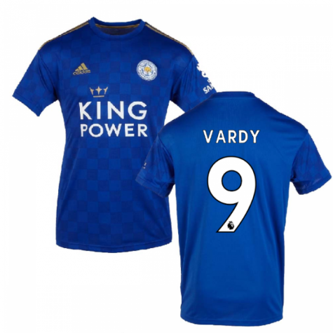 Men's Leicester City #9 Jamie Vardy Blue 2019-2020 Home Football Shirt