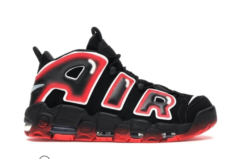Women's Air More Uptempo 96 BG 'Laser Crimson' Black Basketball Shoes 004